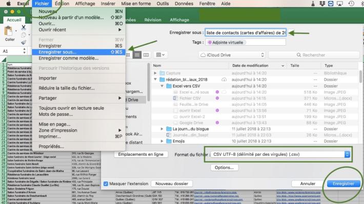 Capture d'écran dans Excel comment sauvegarder en CSV vos contacts