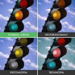 4 feux de circulation teintés de couleurs différentes faisant la démonstration des perceptions des daltoniens