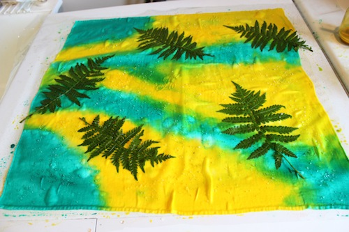 Ferns added to fabric