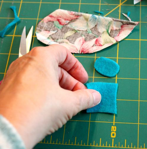 Cutting felt into ears
