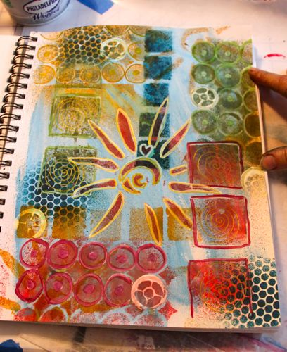 Journal page with my stencils