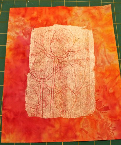Screen printed on commercially dyed fabric