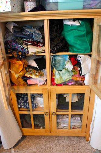 My messy fabric cabinet
