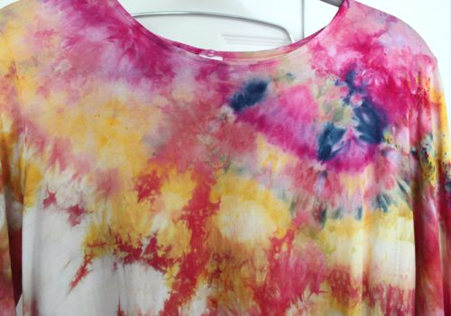 Neckline of ice dyed shirt