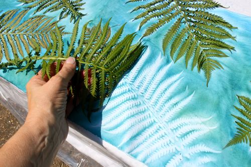 Removing fern from sun printed fabric