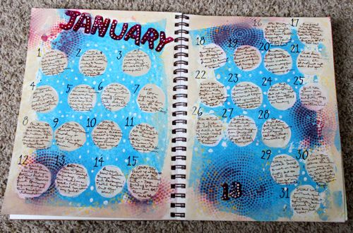 Completed January Art Journal Spread
