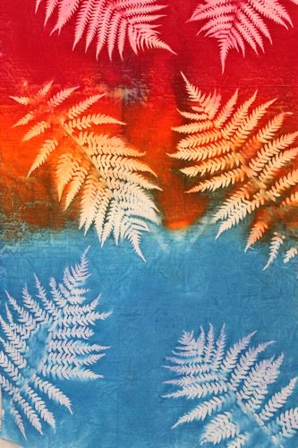 Fern sun printed fabric closeup