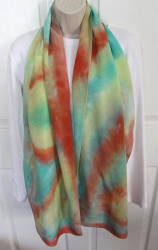 scarf with muted colors after rinsed