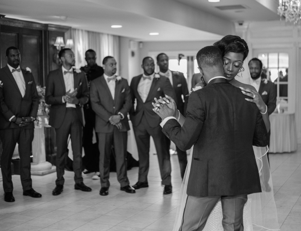 the couple sharing their first dance during their Yale-Divinity-Chapel-wedding