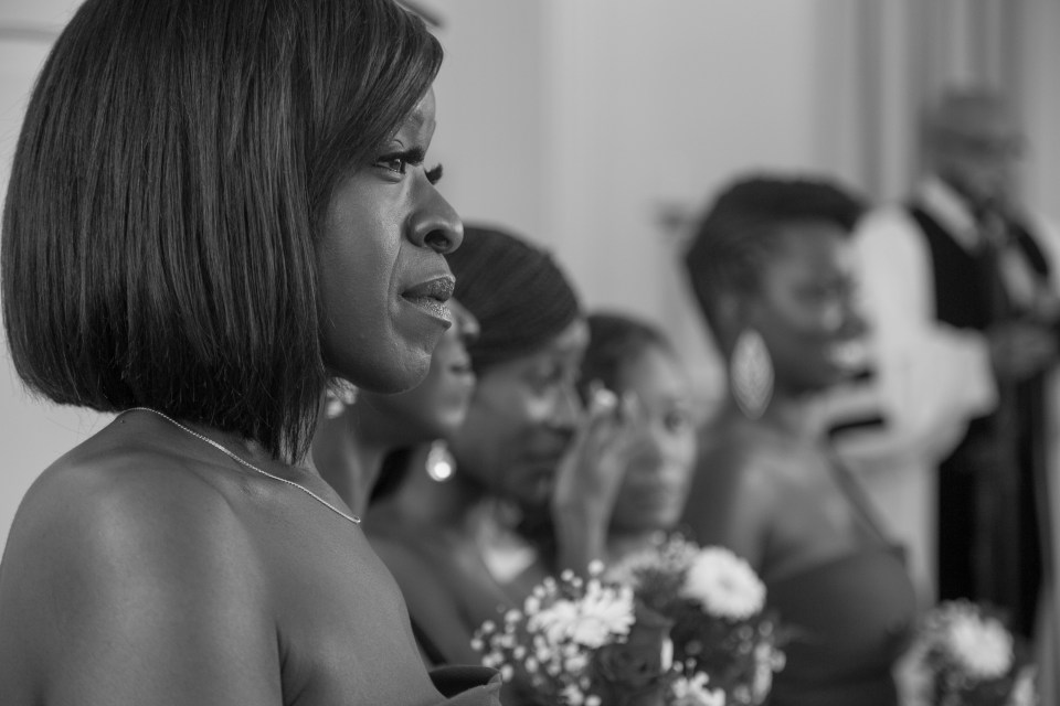 An emotional moment for the bride's cousin during the Yale University Wedding
