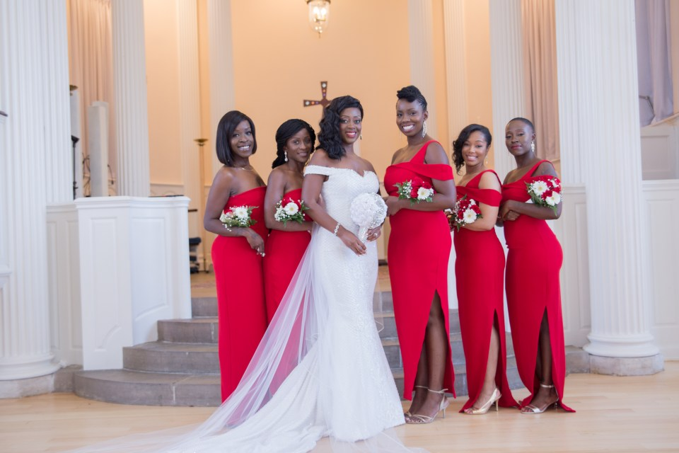 The bride and her bridesmaids after her Yale University Wedding