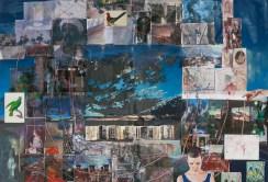 League of Birds, 2015. [Diptych, each 193 x 141 cm] Oil on inkjet print on linen