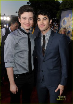 """WESTWOOD, CA - AUGUST 06: Actors Chris Colfer (L) and Darren Criss arrive at the premiere of Twentieth Century Fox's """"Glee The 3D Concert Movie"""" held at the Regency Village Theater on August 6, 2011 in Westwood, California. (Photo by Kevin Winter/Getty Images)"""