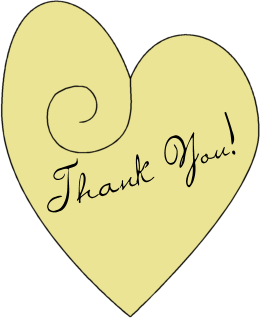 Yellow heart inscribed with Thank You