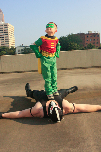 Photo of Bane and the Boy Wonder
