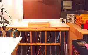glass storage shelves in my studio
