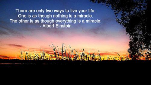 Sunset with gratitude quote by Albert Einstein