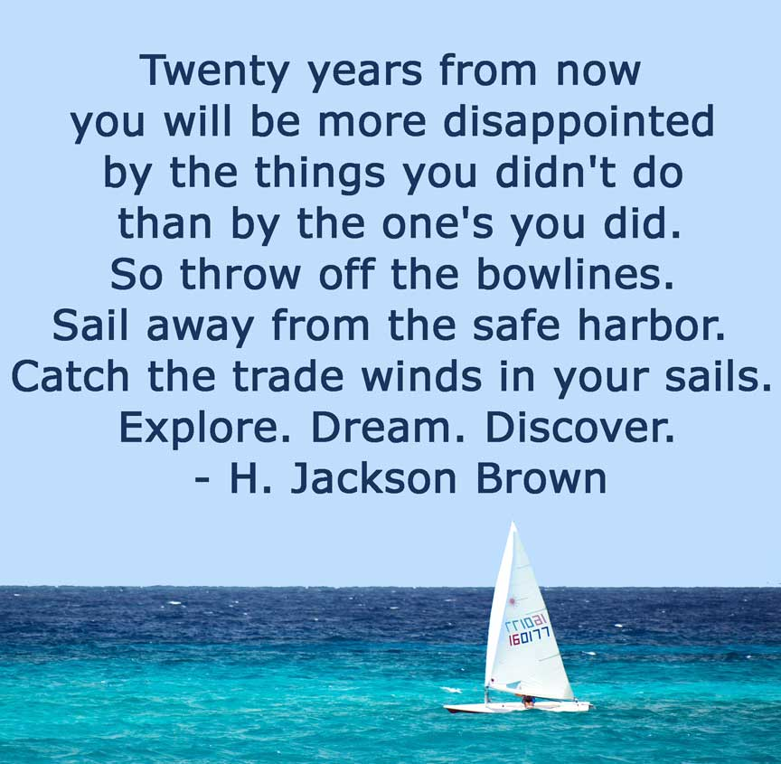 "Quote by H Jackson Brown ""20 years from now..."" Don't be so afraid. Perfection, failure, and inspiration are struggles for all of us."