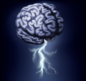 Image of a brain with lightning coming out of it--You can create the life you want if you trick your mind.