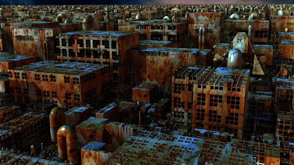 Image of a bunch of rusted buildings with broken windows...dystopia in America?