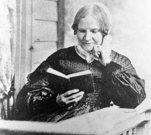 Image of Lydia Marie Child reading a book. Perhaps one of her. With words, she made a difference.