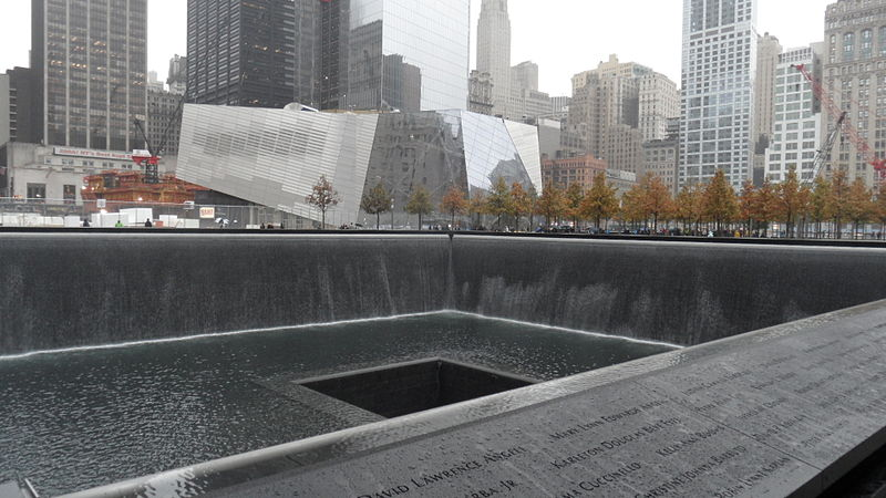 Image of one of the memorial fountains at the former site of the World Trade Center--Always Remember 9/11