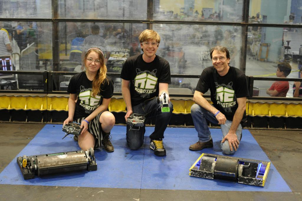 Image of three battlebot participants and their bots.