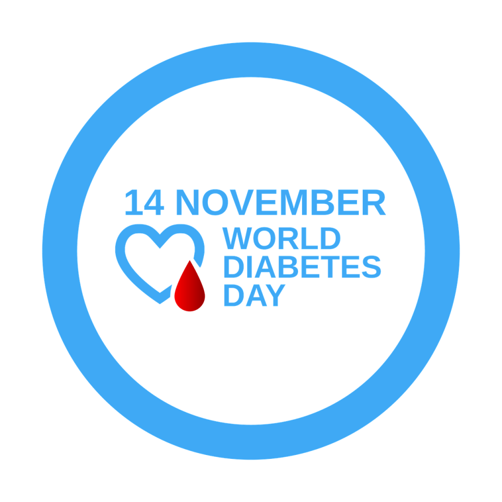 Image is a blue circle around the words 14 November World Diabetes Day. A blue heart with a red blood drop is to the left of the words. Do You Recognize Diabetes, the Invisible Killer?