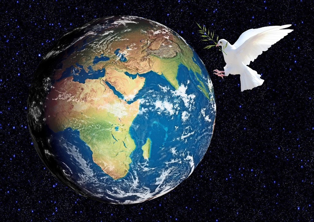 Image of the earth and a white dove with an olive branch in a black field of stars--make your December wish come true...