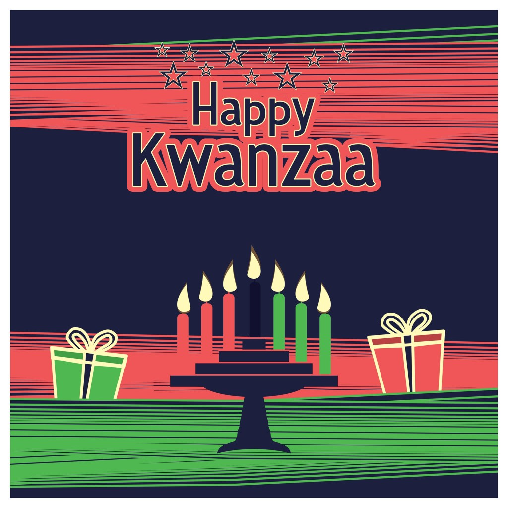 Happy Kwanzaa image with packages and Kwanzaa candles