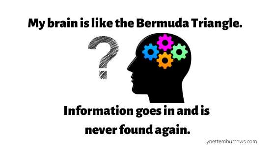 A question mark next to a silhouette of a head with gears inside--do you have a terrible memory?