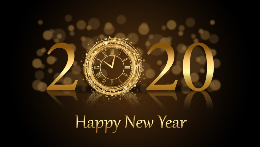 Image of gold 2020 against a brown background with Happy New Year message while we look back at a decade of growth and change.