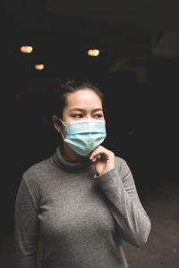 Woman in a medical face mask