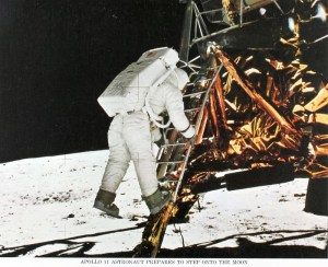 Astronaut descending ladder for Apollo 11 moon landing