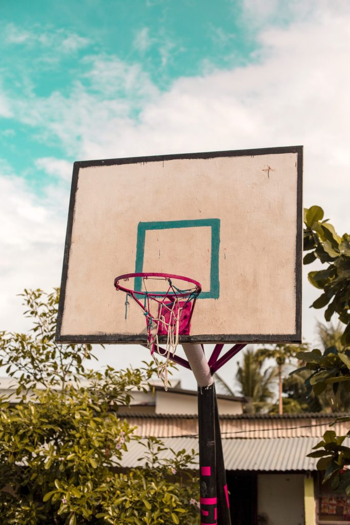 image of basketball hoop in a driveway