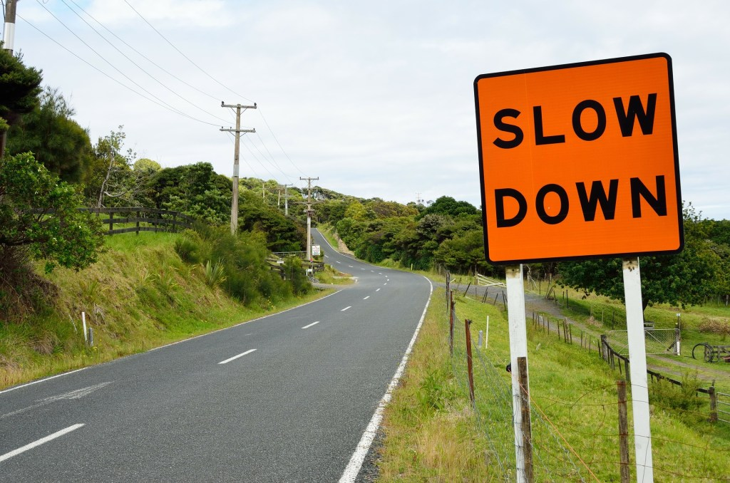 Just like this slow down sign along a road, A bump in the road of pandemic life means slow down, regroup