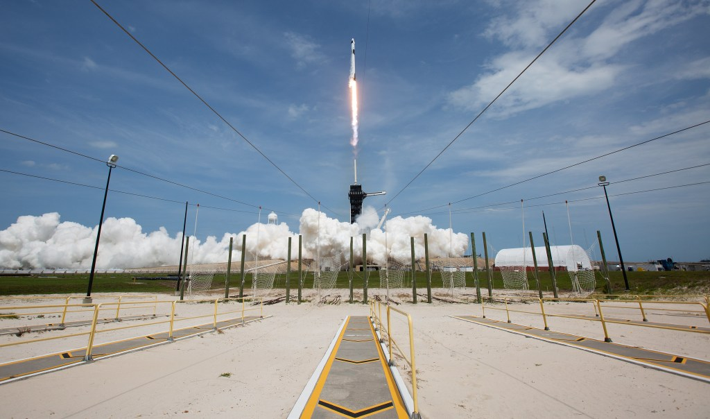 Image of the launch of the SpaceX Falcon 9 rocket carrying Crew Dragon on May 30,2020. An event once beyond the imagination of the earthbound