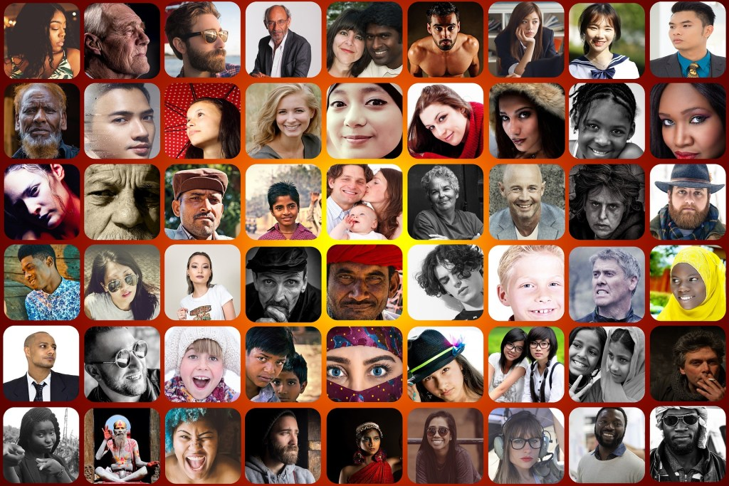 a collage of photos of people of all skin colors, races, ethnicities, religions--people of the world in a world where too many are hurting