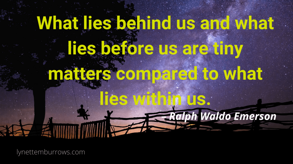 wood fence and tree and person on swing silhouetted against the milkyway in the night sky with Ralph Waldo emerson quote to help you when worldwide crises got you down