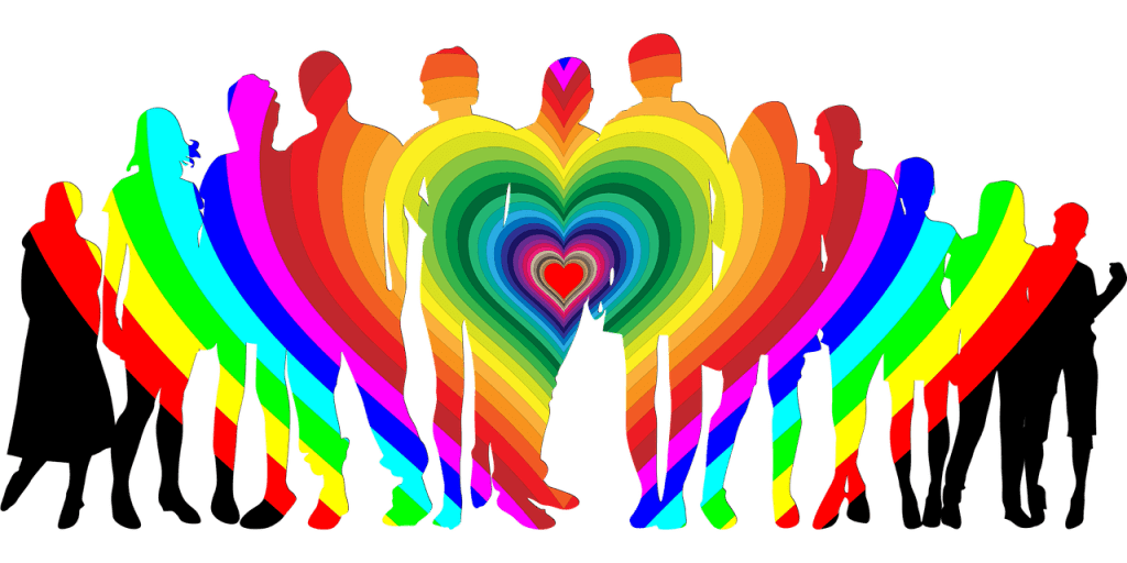 Image of multiple silhouettes of all races, genders, ages with a rainbow heart superimposed over them--you can do better than failing the alteruism test