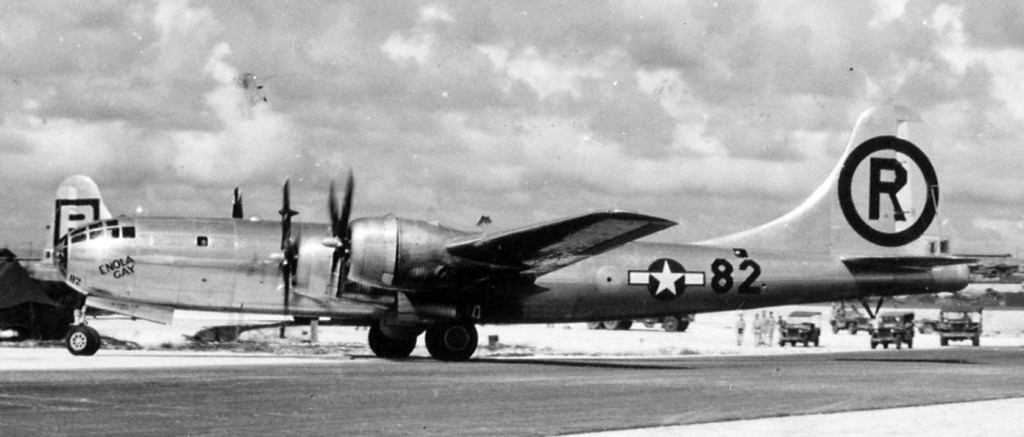 Image of the bomber the Enola Gay which dropped the Atomic bomb on Hiroshima