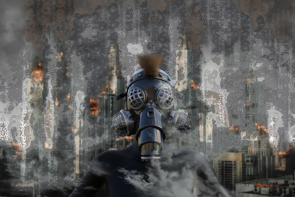 A person wearing a gas mask in the foreground. A burning, smoky city in the background. A dark story for certain.
