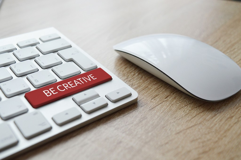 "Computer keyboard with a large red key labeled ""be creative."" Have you bought into a myth?Challenge these nine myths and reclaim your creativity."