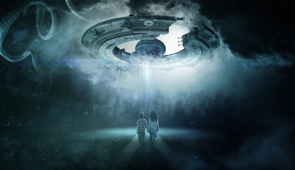 a ufo in the night sky shines a light down on two children--is it a false belief or is it why we believe in the impossible
