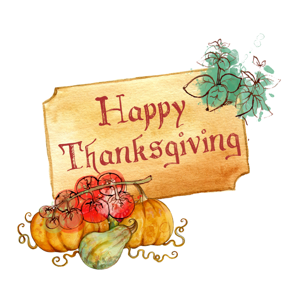 Illustration of a sign behind pumpkins and gourds. The sign says Happy Thanksgiving--perhaps the perfect time to visit your gratitude