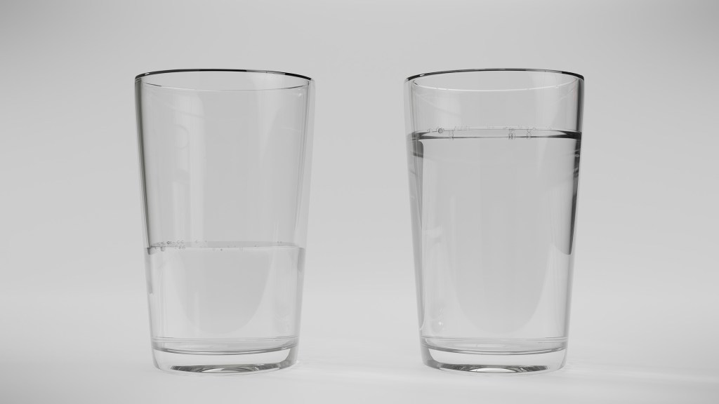 two glasses of water--one half full the other full.