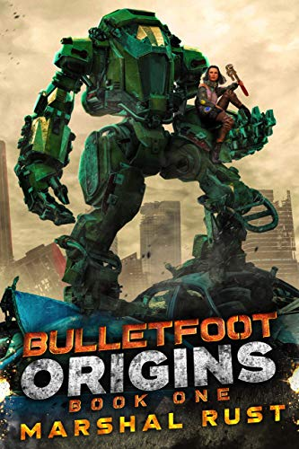 cover image of Origins with giant green robot carrying a woman in his hand--one of the samples of great first lines