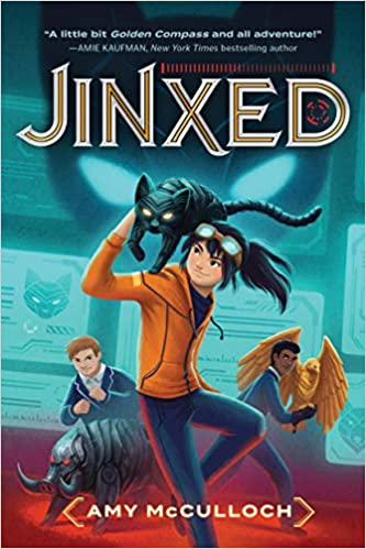 image of cover of Jinxed has a cartoon style girl with a cat like creature on her shoulders-one of the samples of great first lines