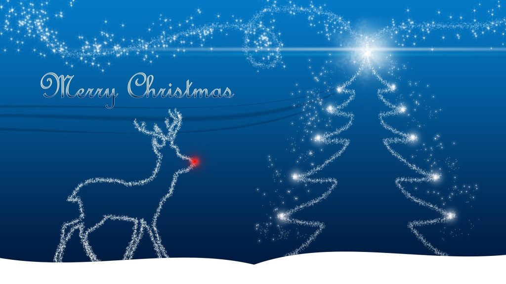 Image of an outline of Rudolph and a Christmas tree on a blue background--do  you know rudolph