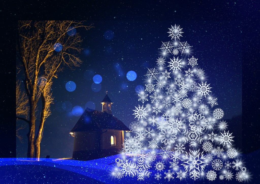 image of a Christmas tree made of white snowflakes on a blue background of a field of snow with a church building with one lighted window--joy and peae
